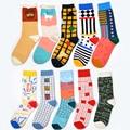 2016 Recentemente listados Mulheres marca meias felizes Para colorido Coreia Do estilo algodão Penteado meias T9