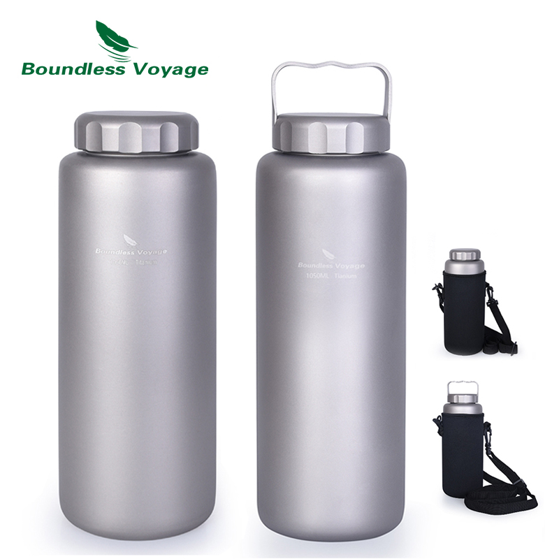 Boundless Voyage Titanium Sports Water Bottle Outdoor Camping Cycling Tea Coffee Wide Mouth Canteen with Handle