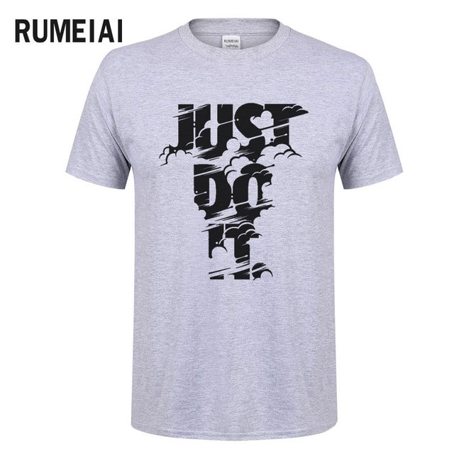 RUMEIAI 2018 High quality Brand Men T shirt Casual Short sleeve O-neck Fashion Printed Cotton T-shirt Men Just Do It Tee Shirt 3
