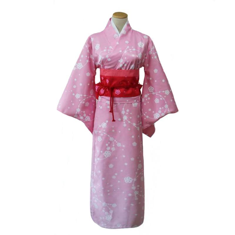 Pink Lady Kimono With Obi Japanese Traditional Yukata Girl Anime Cosplay Clothes Halloween Costume Performance Robe