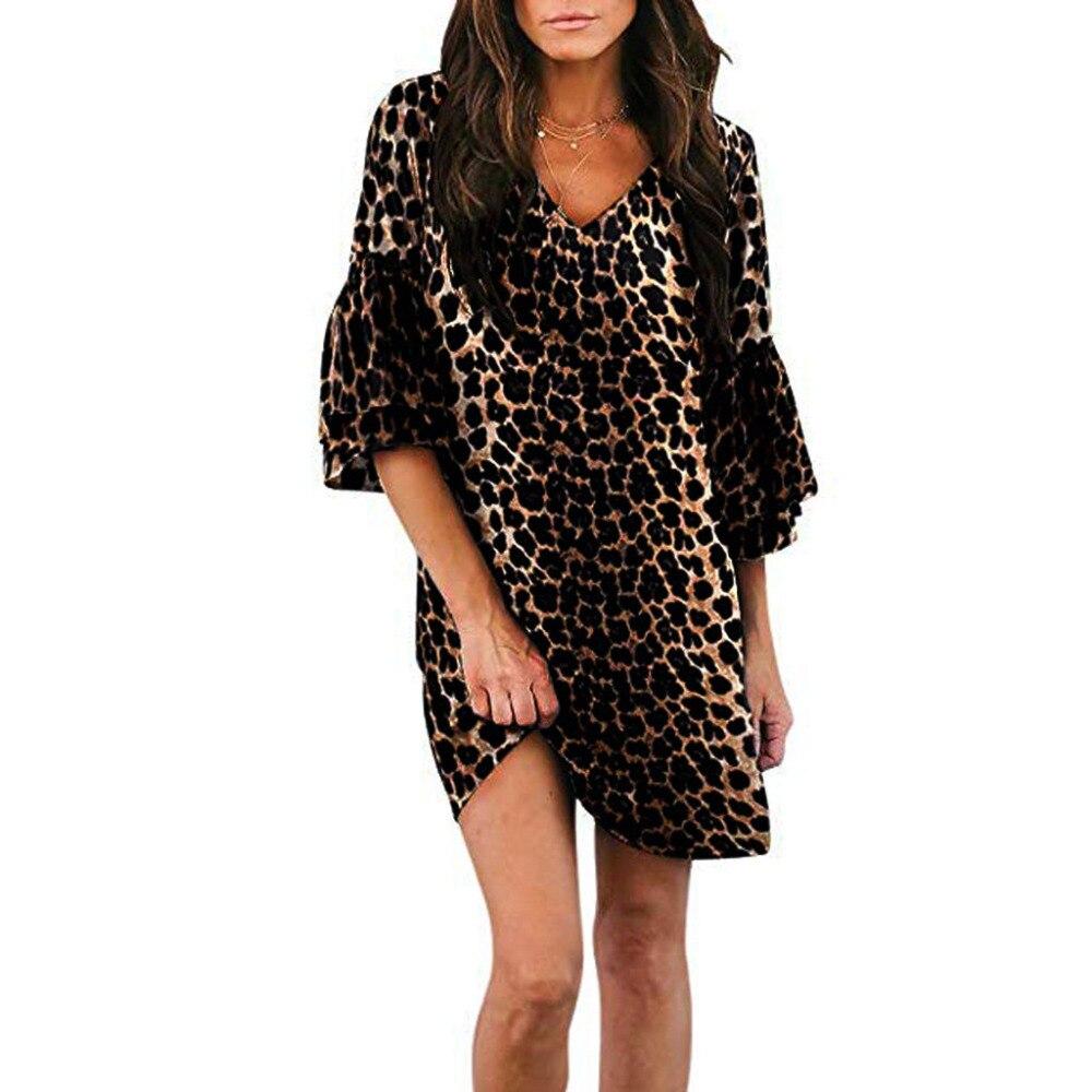 b7db38215551790 2019 Для женщин модные, пикантные v-образным вырезом Половина Flare рукавом  с леопардовым принтом летнее платье вечерние платья sukienki роковой .