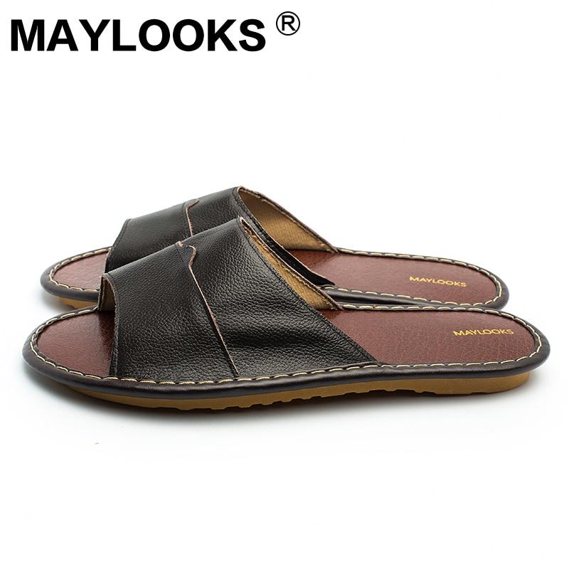 Meeste sussid kevadel ja suvel ehtne nahk kodus siseruumides - Meeste jalatsid - Foto 3