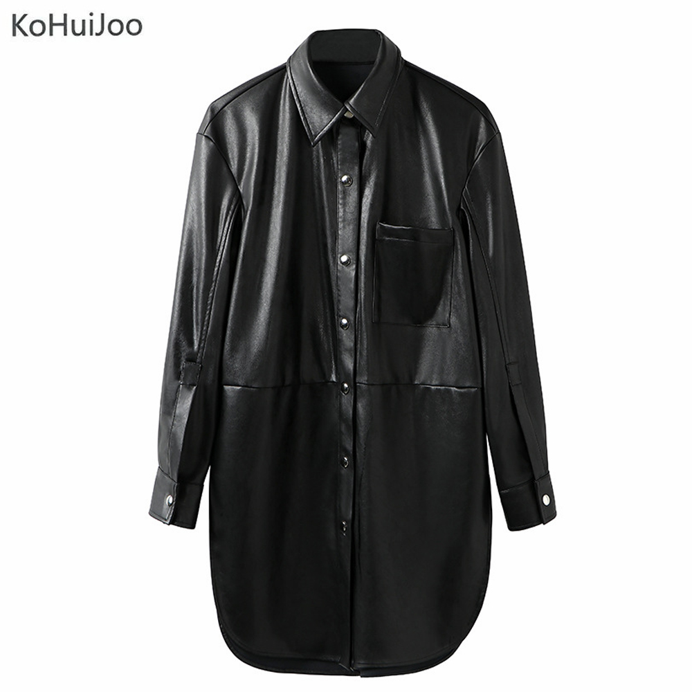 KoHuiJoo 2019 Spring Autumn Women Long   Leather   Coat Black Long Sleeve Button Casual Ladies PU   Leather   Jackets Outwear