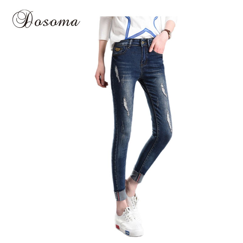 New Fashion Mid Waist Stretch Skinny Jeans Female Slim Pencil Pants Ladies Casual Trousers Scratched Ripped Jeans Woman boyfriend jeans women pencil pants trousers ladies casual stretch skinny jeans female mid waist elastic holes pant fashion 2016