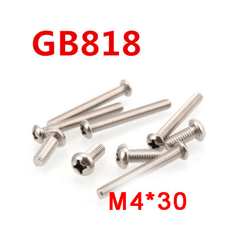 Free shipping 100pcs/Lot GB818 M4x30 mm M4*30 mm 304 Stainless Steel Phillips Cross recessed pan head Screw free shipping 100pcs lot gb818 m3x35 mm m3 35 mm 304 stainless steel phillips cross recessed pan head screw