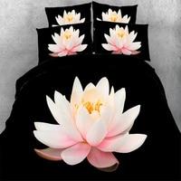 Fiore di loto Rosa 3D Copripiumino 500TC Adluts/Ragazze Set di Biancheria Da Letto Nero Doppia Figura Regina Cal Re Copriletto Cuscino Casea 3/4 PZ
