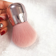 цены Luxury Shinny Make up Brush Silver Soft Mushroom Powder Brush Pink Angled Flat Air Kabuki Blusher Makeup Brush with gift box