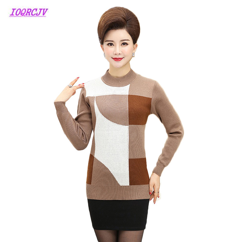 2018 Autumn Sweater Middle-aged Women Pullover Plus Size Half Turtleneck Loose Sweater Winter Female Casual Mother Dress W48