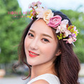 2016 New Fashion Wedding Headband Kids Party Floral garlands with Ribbon Adjustable flower crown Rose Flower Wreath  For Women