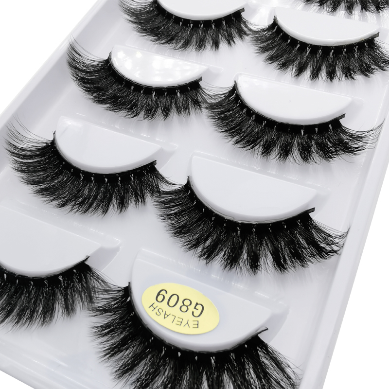 5pairs Mink False Eyelashes Crisscross Messy Thick Exaggerated Long Fake Eyelashes Natrual Makeup Mink Eye Lashes