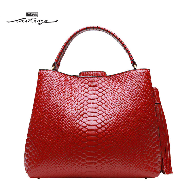 TU-TENG Fashion Women Handbag Female Genuine Leather Bags Handbags Ladies Portable Shoulder Crossbody Red Black Bag Tote G76780 tu teng women elegant doctor bag 2 way tote luxury leather pure color 2018 fashion zipper elegant design lady black khaiki red