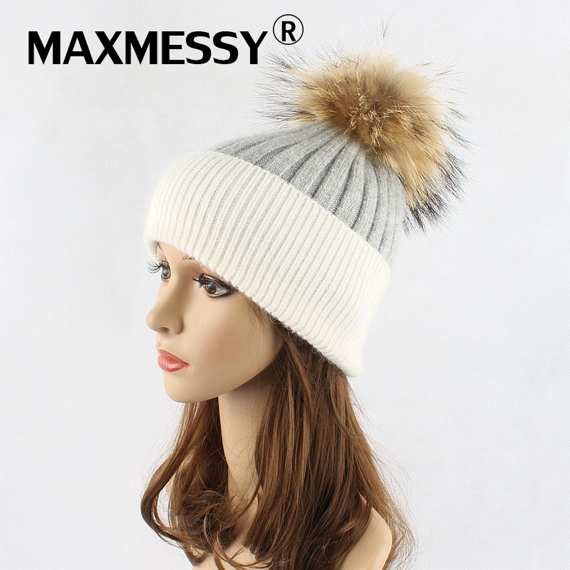MAXMESSY Women Real Fur Hat Female Winter Wool Autumn Knitted Beanies Fur Ball Cap Ladies Cashmere Natural  Hat MH076 anwaar ali gondal business and management in differnet regions