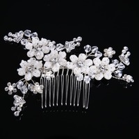 Handmade Silver Color Crystal Bridal Hair Accessories Small Floral Wedding Bride Hair Comb Prom Beads Flower