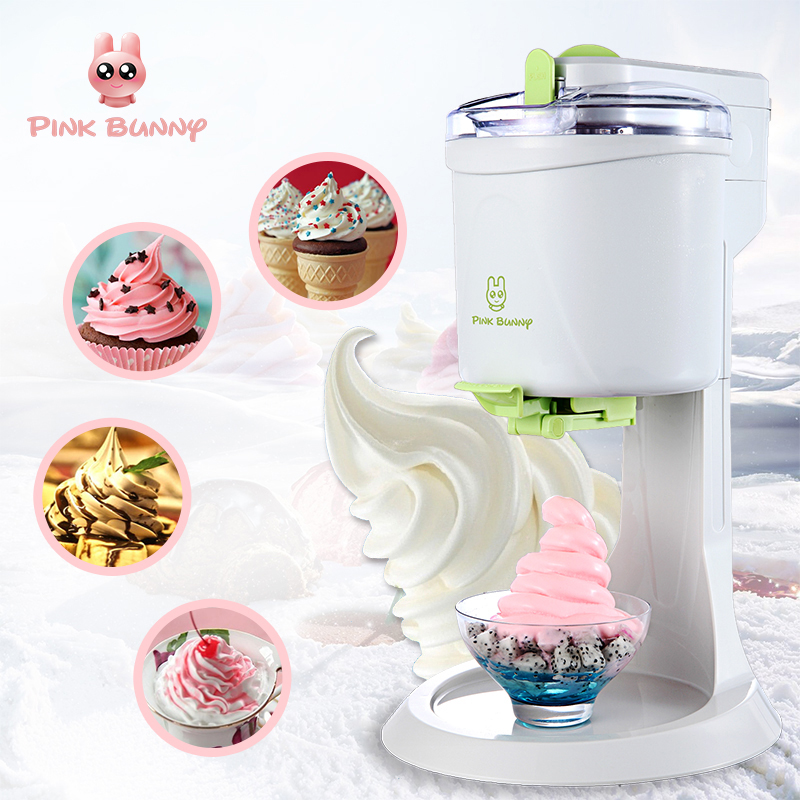 Pink Bunny Machine Icecream Fully Automatic Mini Fruit Ice Cream Maker For Home Electric DIY Kitchen Maquina De Sorvete For Kids ...