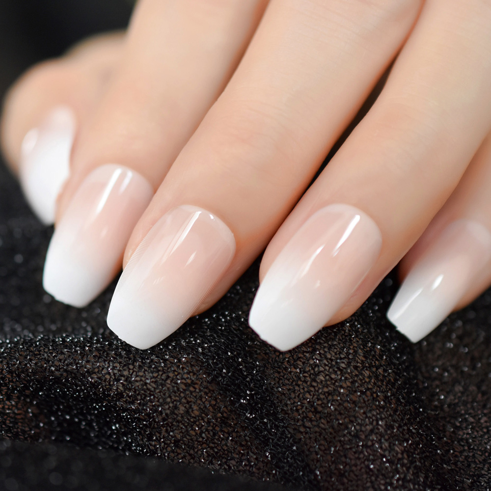 US $0.89 17% OFF|Pink Nude White French Ballerina Coffin False Nails Gradient natural Manicure Press on Fake Nails Tips Daily Office Finger Wear in