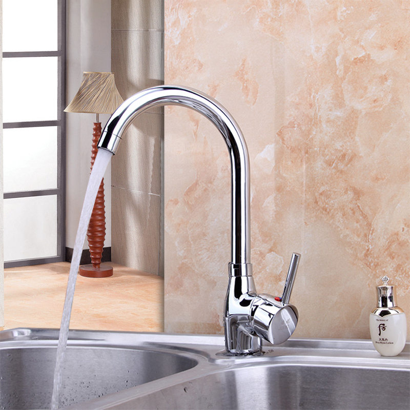 360 Swivel Stream Spout Kitchen Faucet Hot Cold Water Mixer Chrome Finish BrassTap Bathroom Basin Sink