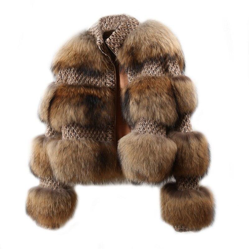 Veste femme fourrure de raton laveur manteau Chic veste de luxe hauts d'extérieur grande fourrure hiver manteau pour soirée Club Cocktail 2018 Eurpean chaude