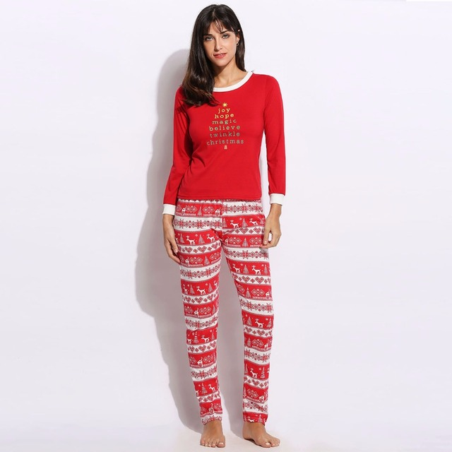 Women Cotton Pajama Clothes Set Top and Pant Snowflake Christmas Costume Female Winter Outfits Two Piece Clothing Suit Sleepwear