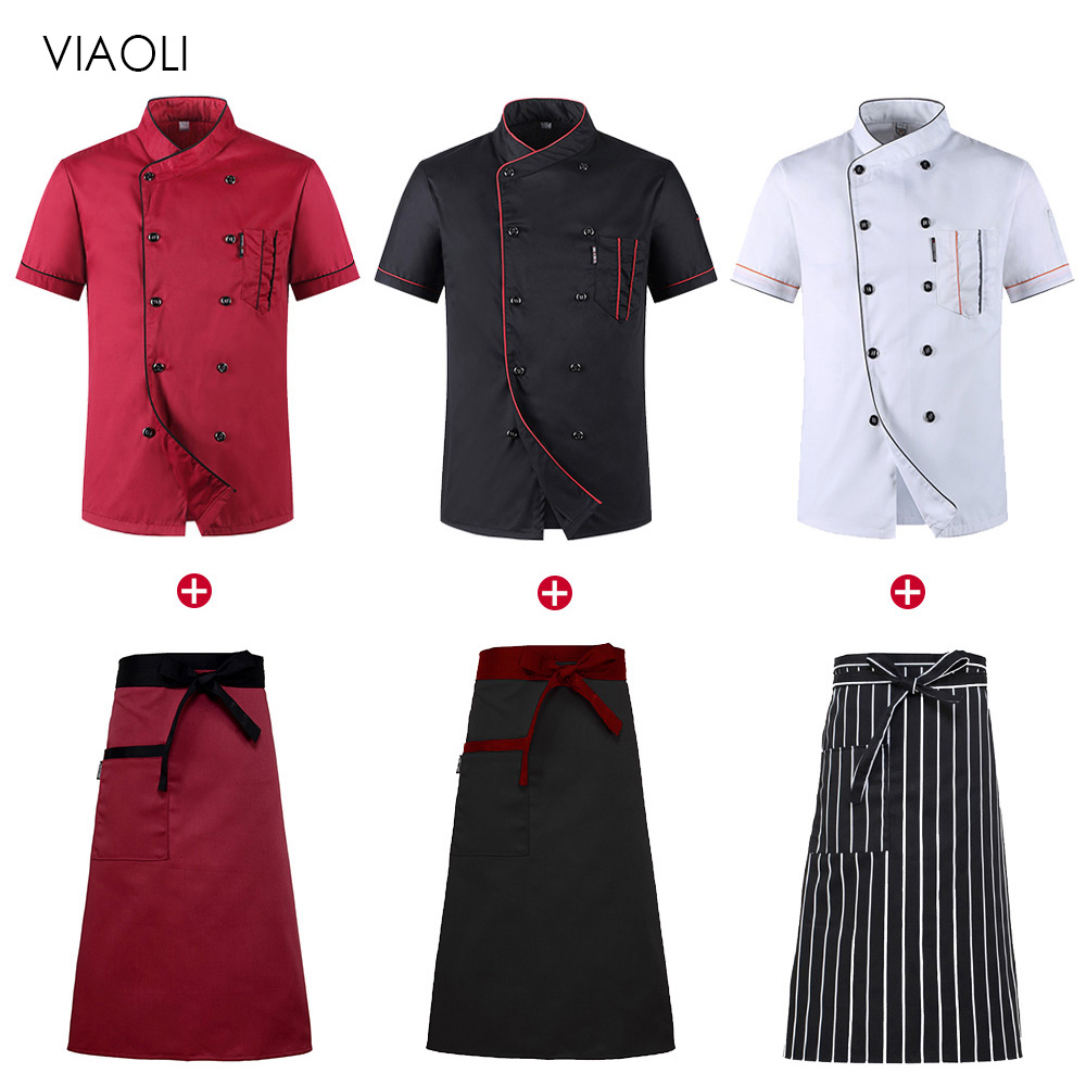 Wholesale Restaurant Kitchen Chef Uniform Shirt Breathable Double Breasted Chef Jacket+cap+apron Works Clothes For Men Unisex
