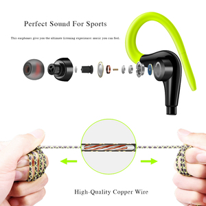 Image 2 - Sports Earphones Waterproof Sport Running Headphones With Mic Ear Hooks Bass Headsets for Mobile iPhone Xiaomi Music Headsets