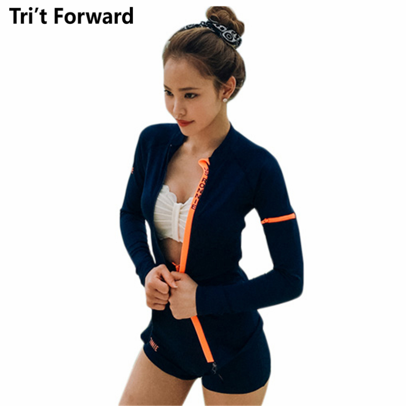 Sports High Waist Swimsuit Women Sexy Push-up Bathing Suit 2018 Swimwear Zipped Long Sleeves Swimming Suits Wave Edge Swim Wear