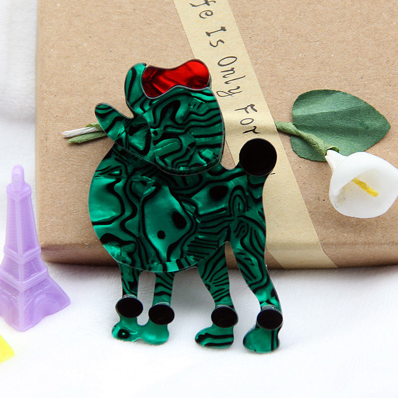 Lovely Poodle Dog Acrylic Brooch Green Resin Animal Pin Badge Brooches And Pins For Women Men Broches Handmade Accessories Gifts in Brooches from Jewelry Accessories