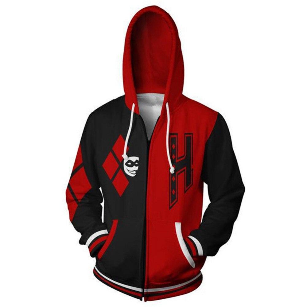 Suicide Squad Hoodie Harley Quinn Cosplay Hoodie 3D Printed Zipper Up Hooded Adult Men Casual Sweatshirt Hoodies Jacket