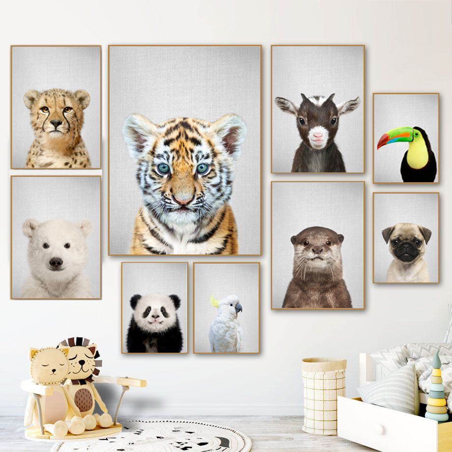 Lion Tiger Dog Bear Panda Wall Art Canvas Painting Nordic Poster And Print Animal Wall Picture Kids Baby Room Scandinavian Decor