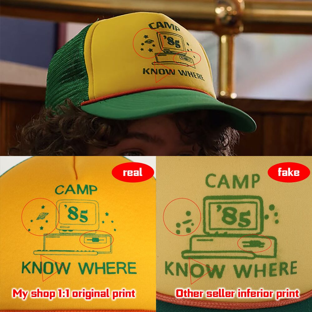 2019 Strange Things Dustin Hat Retro Mesh Trucker Cap Yellow Green 85 Know Where Adjustable Cap Gifts Halloween (1)
