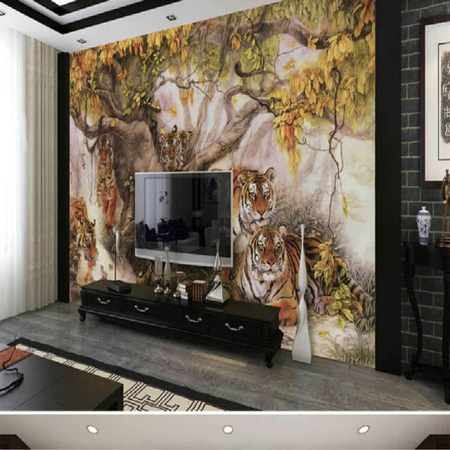 Chinese Painting Tiger Large Living Room Bedroom Wall Painting Mural 3D  Wallpaper TV Backdrop Stereoscopic 3D