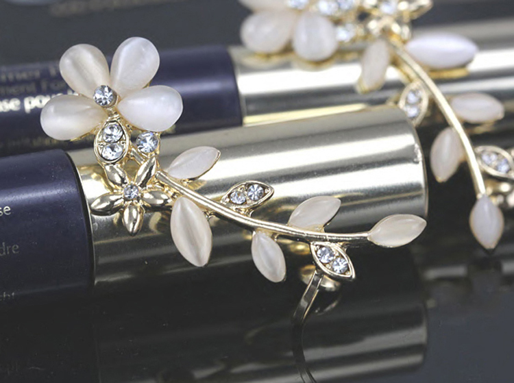 Charming Jewelery Accessories 1 Piece Chic Retro Flower Shaped Rhinestone Inlaid Crystal Left Ear Clip EAR-0414