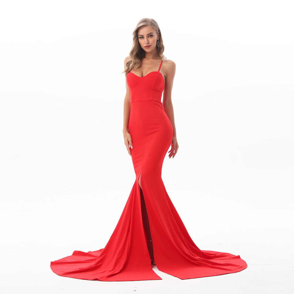 2019 NEW Sexy V Neck Padded Bodycon Party Dress High Split Floor Length Tight Package Hips