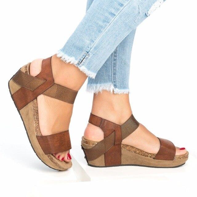 fe15294b62872 COSIDRAM D été Femmes Sandales Plage de la Mode Féminine Chaussures Talons  Compensés Chaussures Plate