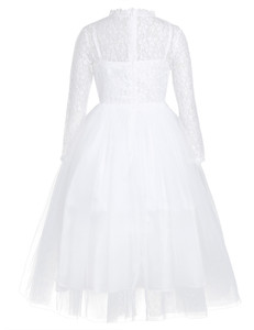 Image 3 - Cute White Lace Flower Girl Dress With Long Sleeves for Weddings Children Prom Gown Girls Princess First Communion Party Dresses