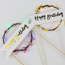 Romantic LED Light Up Glow Flower Garland Wreath Cake Topper Cupcake Flag Cake Decoration Birthday Event Party Supplies(China)