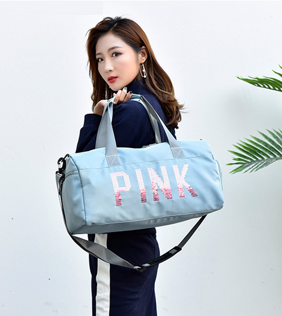 Outdoor Waterproof Nylon Sports Gym Bags Men Women Training Fitness Travel Handbag Yoga Mat Sport Bag with shoes Compartment0106