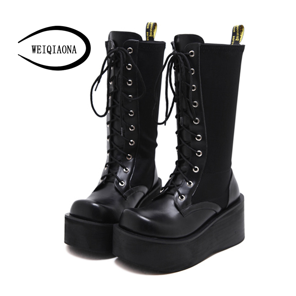 WEIQIAONA Female mid-calf boots new winter fashion Punk elastic fabric sexy locomotive boots thick platform district boots double buckle cross straps mid calf boots