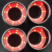 4PCS Stainless Steel 12V 8 Red LED Cup Drink Holder for Marine Boat Car Truck