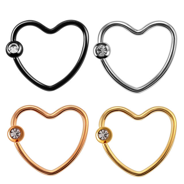 4pcslot Steel Ear Piercing Rose Gold hoop Earrings Heart Gem Tragus