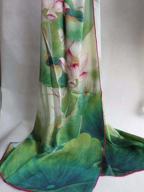 Elegance Fashion /women's 100%Pure  silk Digital Inkjet Printing hand roll-hemmed  pink lotus silk long scarf/  geen white