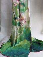 Eleganza/100% Pura seta da donna Stampa A Getto D'inchiostro Digitale mano roll-orlato rosa di loto di seta lunga sciarpa/geen bianco