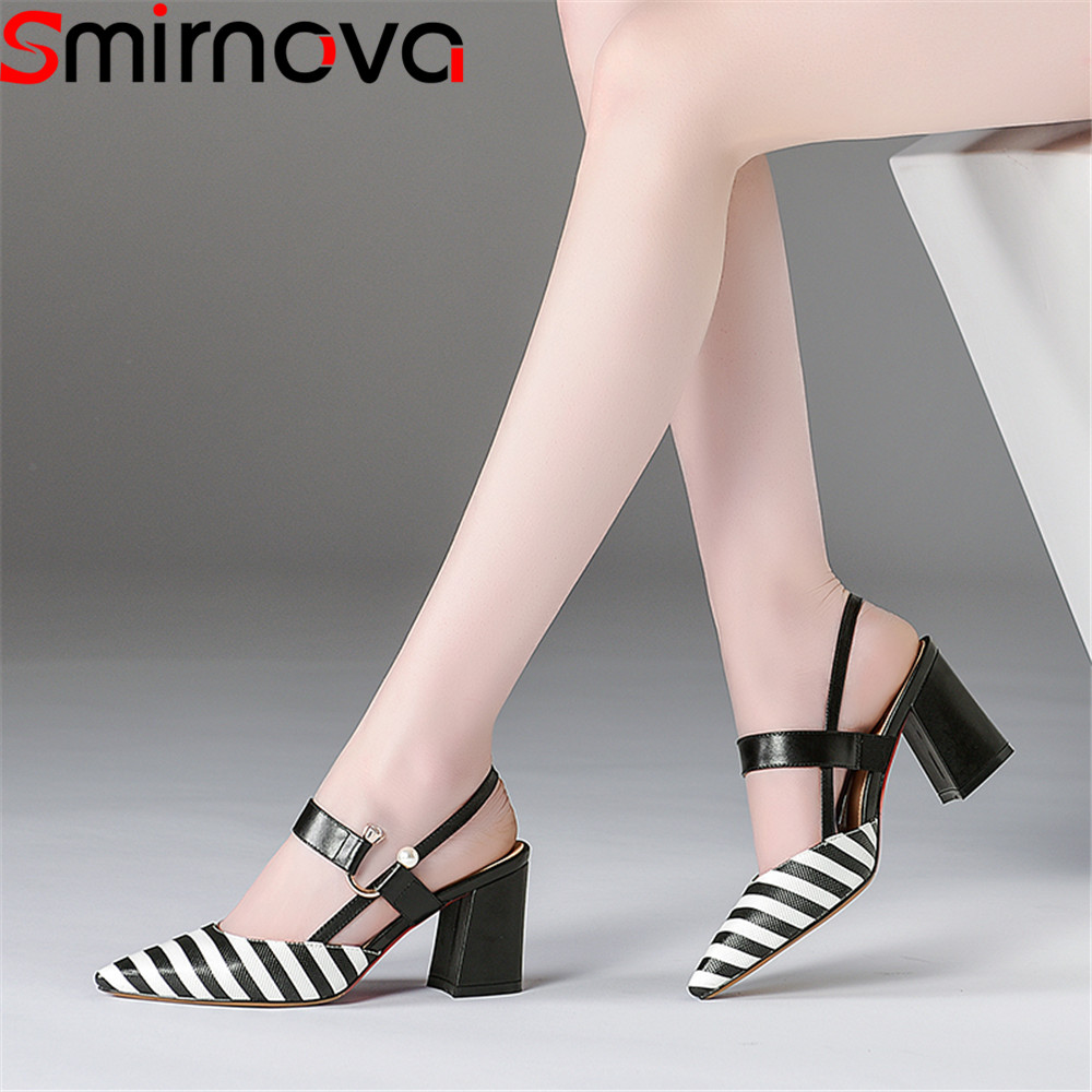 Smirnova 2018 summer new shoes woman pointed toe elegant sandals women genuine leather high heels shoes big size mixed colorsSmirnova 2018 summer new shoes woman pointed toe elegant sandals women genuine leather high heels shoes big size mixed colors