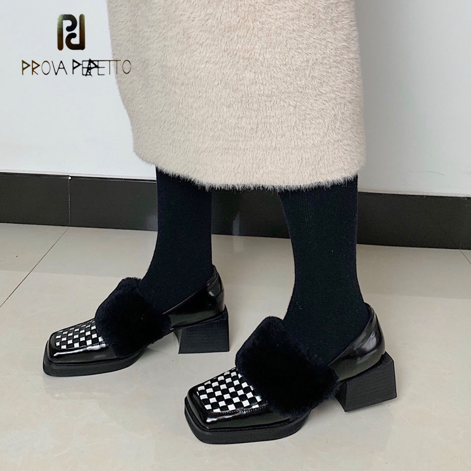 Prova Perfetto spring autumn new genuine leather motorcycle shoes square toe thick heel women pumps real fur slip on single shoe