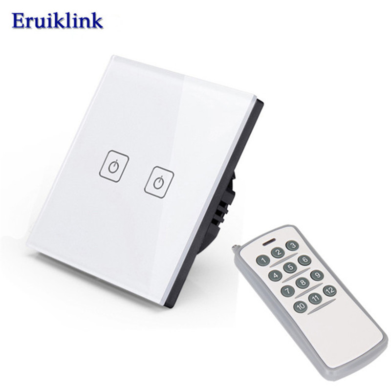EU/UK Standard Wireless Remote Control Light Switch, 1/2/3 Gang 1 Way RF433 Remote Wall Touch Screen Switch For Smart Home eu uk standard funry remote control switch 1 gang 1 way rf433 smart wall switch wireless remote control touch light switch