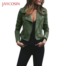JAYCOSIN Ladies Retro Rivet Zipper Up Womens Bomber Jacket Casual Coat Outwear Zipper Design Can Make You More Lovely Vitality cheap REGULAR Turn-down Collar Full women shirt Polyester Solid real knitted fur long winter coat women extra long winter coat women