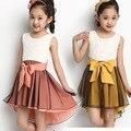 Летней Девушки платье Принцессы Платье пачка свадебные платья 7-9-12 возраст детская одежда лук о-образным вырезом платья девушки белый baby girl одежда