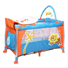 2017 Lion Pattern Baby Cribs Bed Diaper Changing Stations Portable Foldable Playpen Crib Child Alloy Double