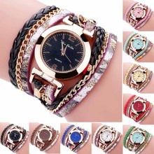 New Fashion Women Thin Multi Layers Quartz Bracelet Watch PU Leather Weave Wrap  Wristwatch  High Quality LL@17