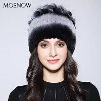 MOSNOW Women S Winter Hats Beanies Elegant Flower Top Natural Rex Rabbit Fur New 2017 Winter