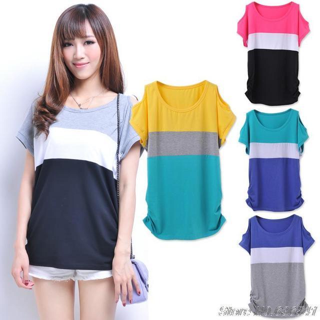 80d43e129e25 Wholesale! Hot Sale! T Shirt Women Korean Summer Tops Batwing Sleeve Loose  Plus Size Striped Shirt S M L XL